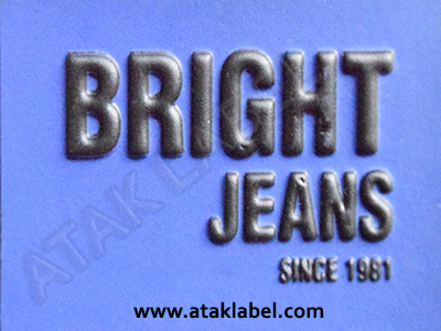 Leather label, embossed, embossing, hot stamping, jeans label, denim label, clothing label