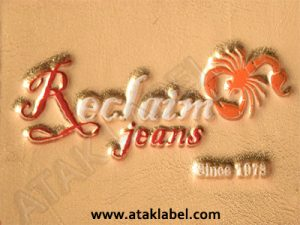 Leather label, hot stamping, debossed, embossing, faux leather label, pleather label, imitation leather, real leather